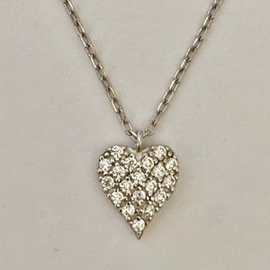 Jewelry - 💖925 Silver heart love cz stones necklace